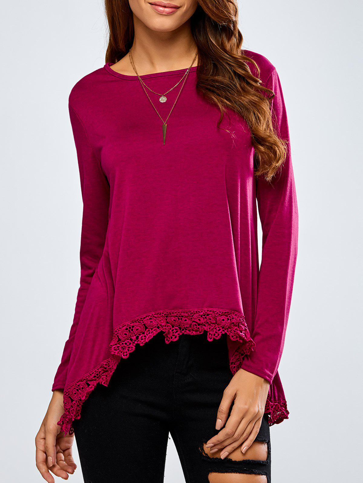 Best High-Low Lace Spliced Loose T-Shirt