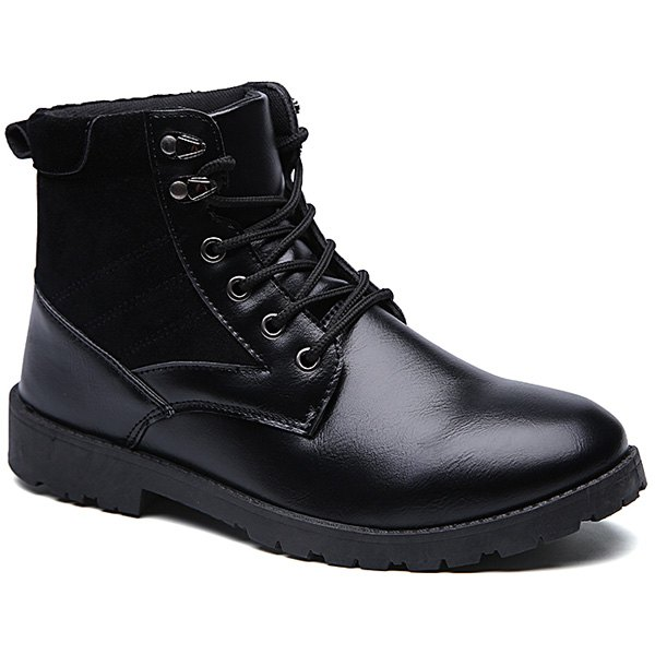 Latest Splicing Dark Colour Lace-Up Boots