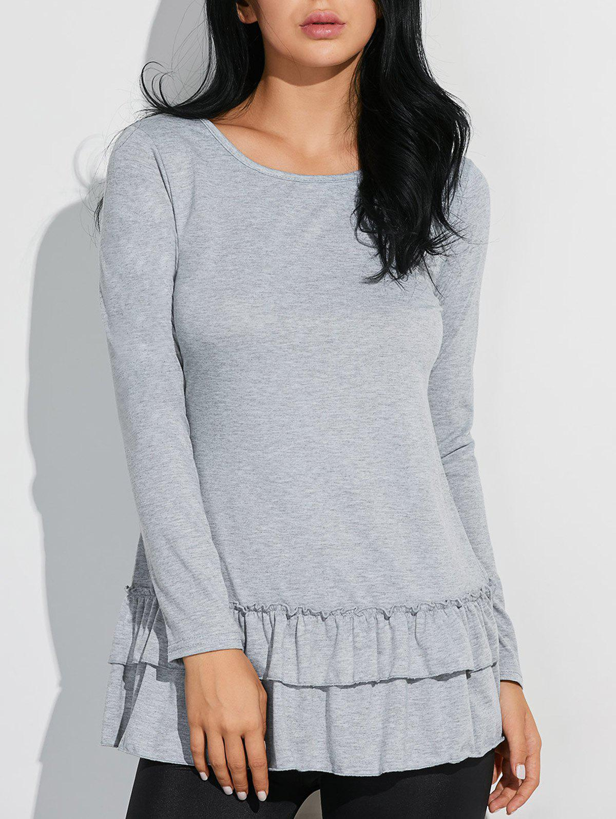 Affordable Layered Ruffles Long Sleeve T-Shirt