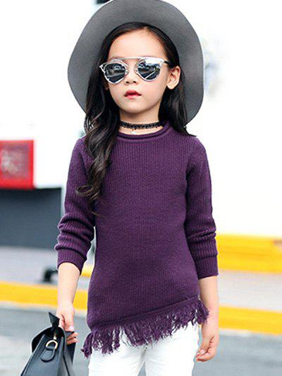 Affordable Round Collar Long Sleeve Fringe Wool Sweater