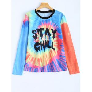 Jewel Neck Stay Chill Tie-Dyed T-Shirt