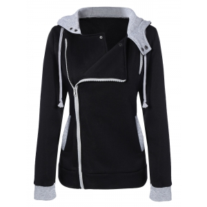 Oblique Zipper Slim Fit Hoodie Jacket