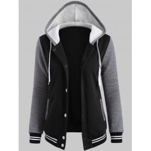 Plus Size Fleece Baseball Jacket with Hood - Black - Xl