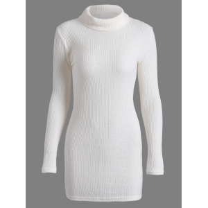 Casual Mini Long Sleeve Bodycon Turtleneck Sweater Dress - White - Xl