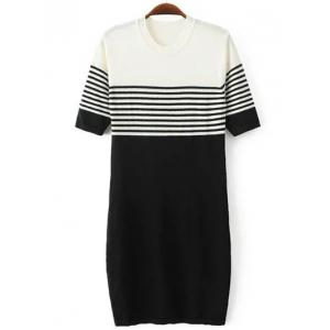 Color Block Short Sleeve Striped Jumper Dress