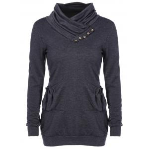 Heaps Collar Buttoned Pullover Sweatshirt