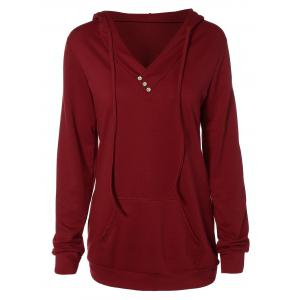 Buttoned Plus Size Drawstring Hoodie