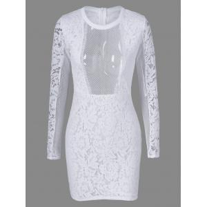 Tight Mesh See Through Sheer Lace Fitted Dress