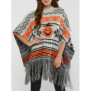 Hallowmas Jacquard Fringed Cape Sweater - Gray - S