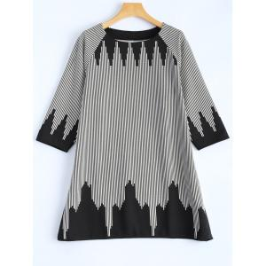 Plus Size 3/4 Sleeve Striped T-Shirt - White - One Size