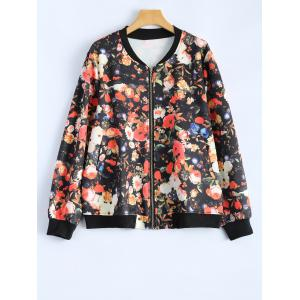 Plus Size Floral Print Zippered Jacket