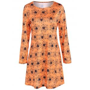 Spider Halloween Print Long Sleeve Mini Swing Dress - Sweet Orange - 2xl