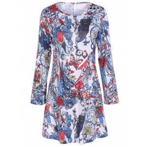 Full Print Long Sleeve Halloween Mini Swing Dress - Colormix - S