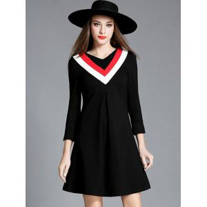 3/4 Sleeve V Neck Mini Swing Dress