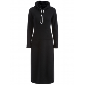 Hooded Flocking Pocket Design Dress
