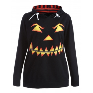 Plus Size Long Sleeve Pumpkin Print Christmas Hoodie