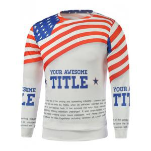 American Flag Letters Print Long Sleeve Sweatshirt
