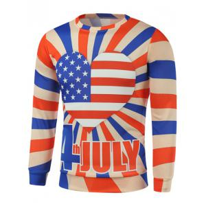 American Flag Heart Letter Print Long Sleeve Sweatshirt