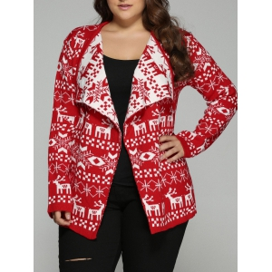 Christmas Jacquard Cute Plus Size Cardigan