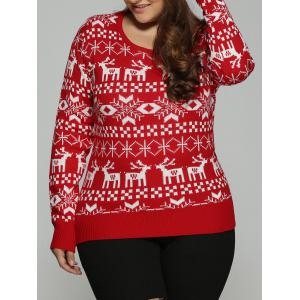 Plus Size Christmas Jacquard Knit Sweater - Red - Xl