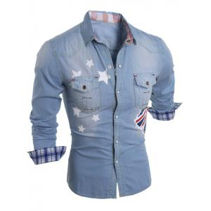 Star Flag Printed Long Sleeve Pocket Jean Shirt