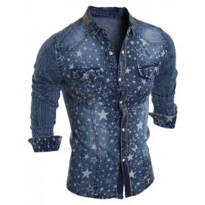 Star Printed Long Sleeve Pocket Jean Shirt - Deep Blue - Xl
