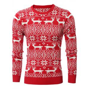 Deer Pattern Crew Neck Snowflake Christmas Sweater