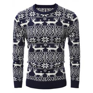 Deer Pattern Crew Neck Snowflake Christmas Sweater - Cadetblue - L