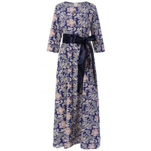 Maxi 3/4 Sleeve Retro Print Belted Dress