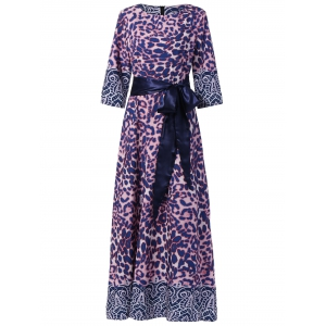 Maxi Cheetah Print Long Prom Evening Dress - Purple - L