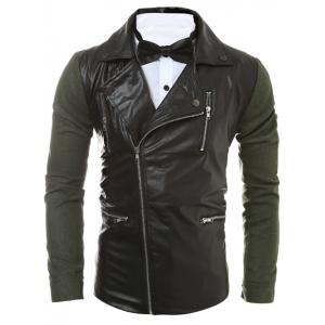 Multi Zipper Asymmetrical Zip Up Panel PU Jacket