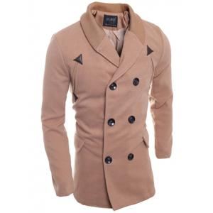 Double Breasted Knitted Collar Spliced Coat