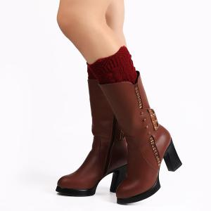 Warm Crochet Sipder Knit Boot Cuffs - Wine Red