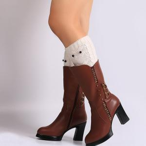 Warm Crochet Owl Knit Boot Cuffs - White - 3xl