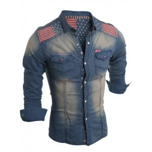 Flag Pattern Striped Snap Button Jean Shirt