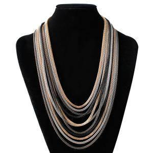 Multi Color Chain Bib Drape Chain Necklace
