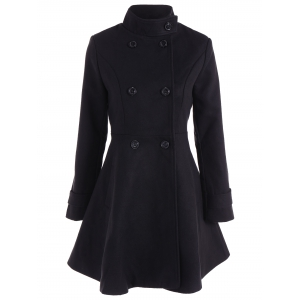 Double Breasted Skirted Coat - Black - 2xl
