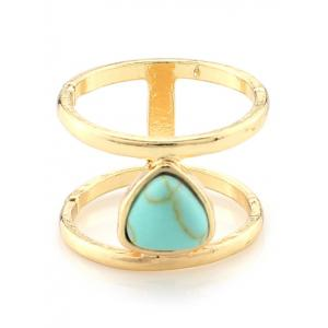 Faux Turquoise Droplet Cage Ring