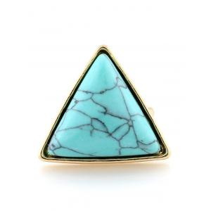 Faux Turquoise Triangle Metal Ring