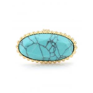 Beaded Edge Faux Turquoise Oval Ring - Turquoise - 8