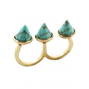Faux Turquoise Triple Finger Ring
