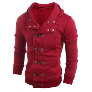 Long Sleeve Side Pocket Double Breasted Hoodie - Wine Red - 2xl