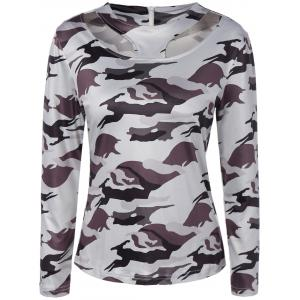 Jewel Neck Cut Out Camouflage T-Shirt - White - M