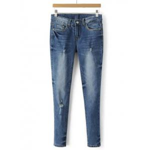 Bleach Wash Frayed Denim Cigarette Pants