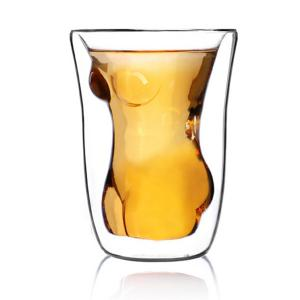 Double Layer Adiabatic Lady Glass Water Beer Mug - Transparent