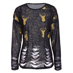 Deer Print Ripped Top