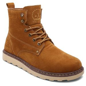 Eyelet Lace-Up Suede Short Boots - Brown - 44
