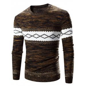 Crew Neck Rhombus Splicing Pattern Long Sleeve Sweater - Coffee - Xl