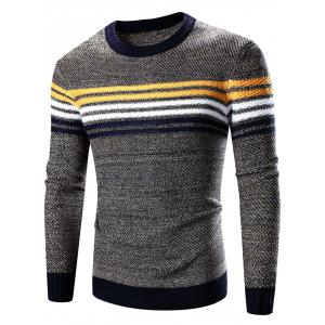 Crew Neck Striped Splicing Pattern Long Sleeve Sweater - Cadetblue - M