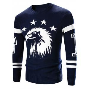 Crew Neck Eagle Pattern Varsity Stripe Long Sleeve Sweater
